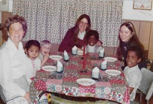 Jackie, me, Judy (student teacher) and some of our first graders having dinner at Jackie's
