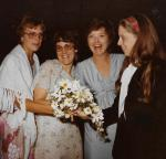 Lynn, me, Dottie, Carol catching the bouquet!