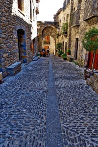 Picturesque Swiss cobblestone street